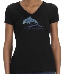 Black V-Neck Rhinestone T-Shirt