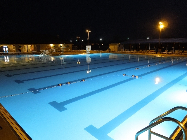 The beautiful, 10-lane, Pickerington Community Pool at night.