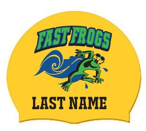 2019 FAST Frogs Personalized with LAST Name on Silicone Swim Cap (Qty: 2)