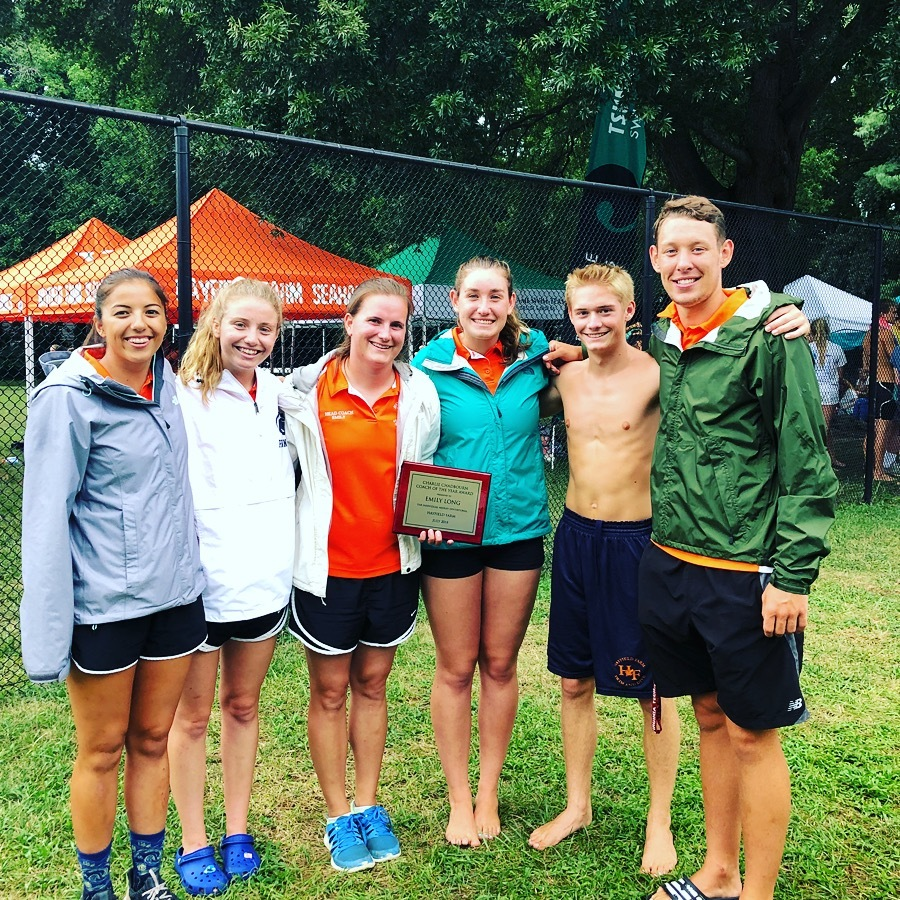 """Congratulations to our head coach, Emily Long, for receiving the """"Charlie Chadbourn Coach of the Year Award"""" at the IM Invitational on July 23rd!"""